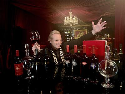 Jean-Charles Boisset in the Red Room at Raymond Vineyards with a variety of wines